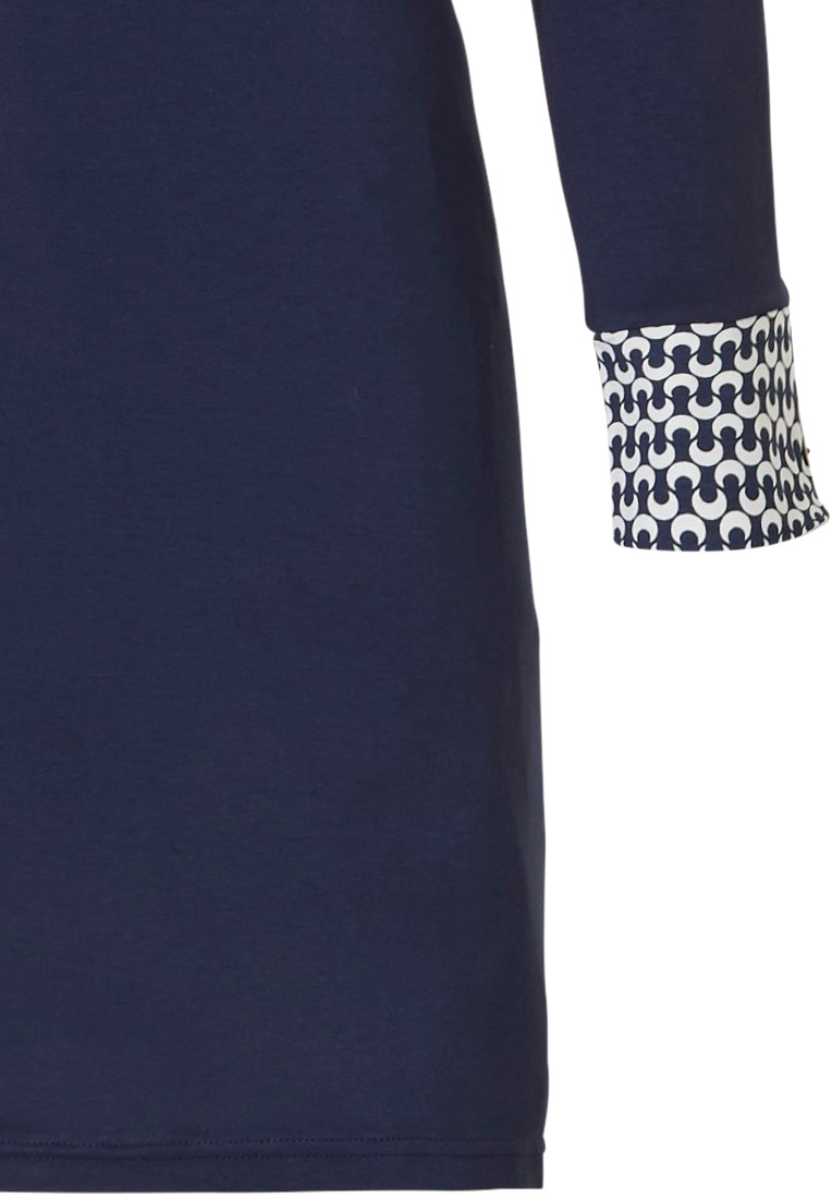 Pastunette Deluxe 'little bit links of fashion' dark blue & white long sleeve nightdress with 4 buttons and 'little bit links of fashion' cuffs, shoulder detail and chest pocket