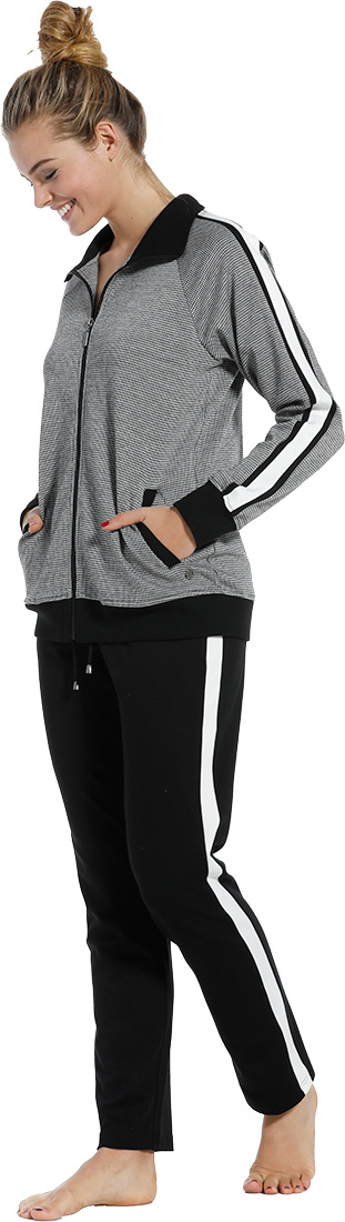 Pastunette Deluxe  'monochrome sporty fashion' black & white ladies trendy homewear lounge suit with zip, collar, sporty side stripes and long black pants with sporty stripe
