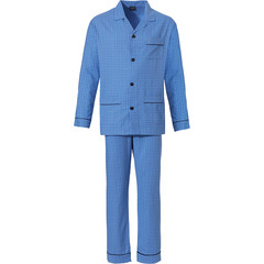 Robson woven full button cotton flannel mens pyjama 'all squares'