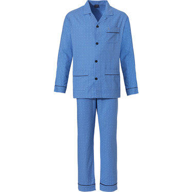 Robson 'all squares' sky blue long sleeve 100% woven cotton flannel, full button men's pyjama with revere collar, chest pocket, two front pockets and long matching 'all squares' patterned pants