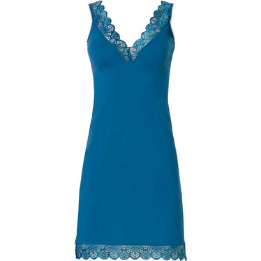 Pastunette Deluxe 'lace trim beauty' 80% modal, 'v' front spaghetti dress, trimmed with blue lace with a decorative 'v' shaped back