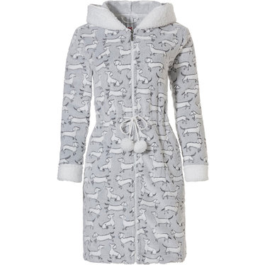 Rebelle 'little sausage dogs' grey & white, soft, warm fleece morninggown with fleece lined hood, zip, fluffy fleece cuffs and tie waist with cute fluffy pompoms