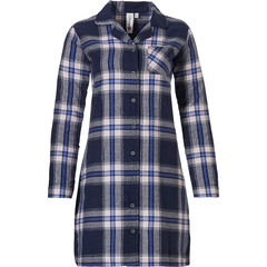 Rebelle long sleeve full button flannel nighshirt 'denim blue checks & lace'