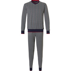 Pastunette for Men heren pyjama met boorden 'little square blocks'