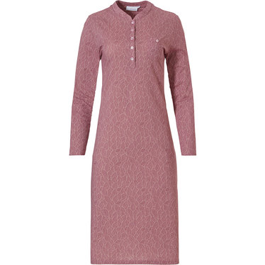 Pastunette 'leaves of dreams' pink long sleeve 100% cotton nightdress with 5 buttons and chest pocket