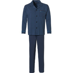 Robson mens full button cotton pyjama 'hexagon print pattern'