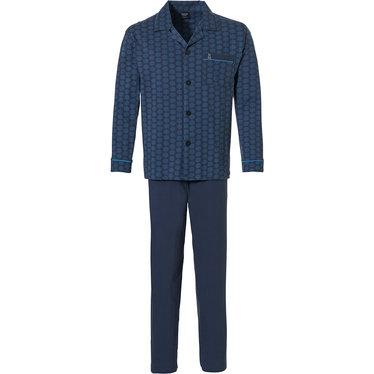 Robson 'hexagon print' donkerblauwe katoenen, doorknoop heren pyjama set met lange mouw, reverskraag, borstzakje en lange donkerblauwe broek
