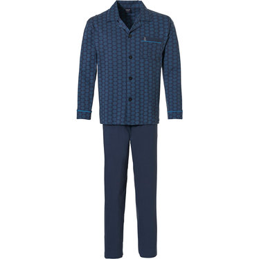 Robson 'hexagon print pattern' dark blue long sleeve 100% cotton, full button mens pyjama set with revere collar, chest pocket and long dark blue pants