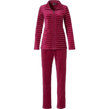 Pastunette Deluxe 'bordeaux velvet lines' dark red luxury velvet homesuit with full zip, collar and long dark red velvet pants with pockets