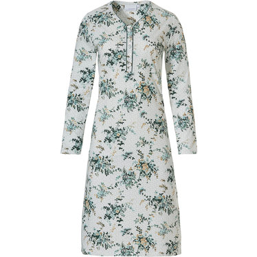 Pastunette 'pretty Winter-wish garden' off white & forest green long sleeve 100% cotton nightdress  with 5 buttons