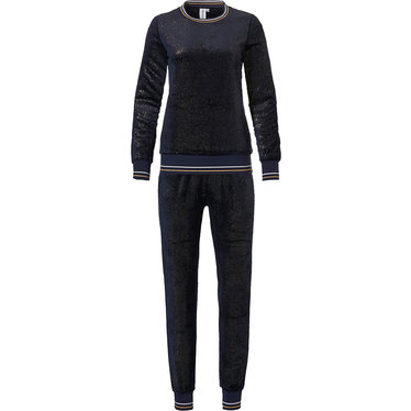 Rebelle 'midnight sparkle' dark blue & gold soft fleece lounge set with cuffs and long matching cuffed pants