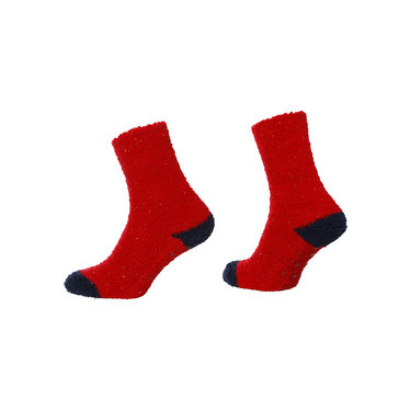 Rebelle 'spots & sparkles' soft fleece, red & blue, one size socks, set of 2 pairs