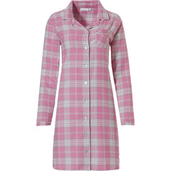 Pastunette long sleeve full button cotton flannel nightdress 'pastel checks'