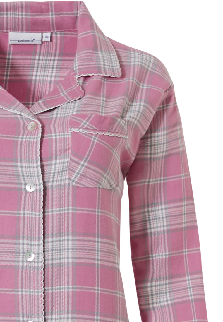 Pastunette 'pastel checks' pretty pink, full buttoned long sleeve, 100% cotton flannel nightshirt with pastel checks pattern, revere collar and chest pocket