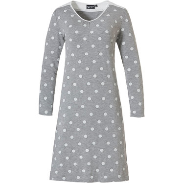 Pastunette Deluxe 'fashionably dotty' grey & white, long sleeve 'v' neck nightdress with white shoulders and upper back panel