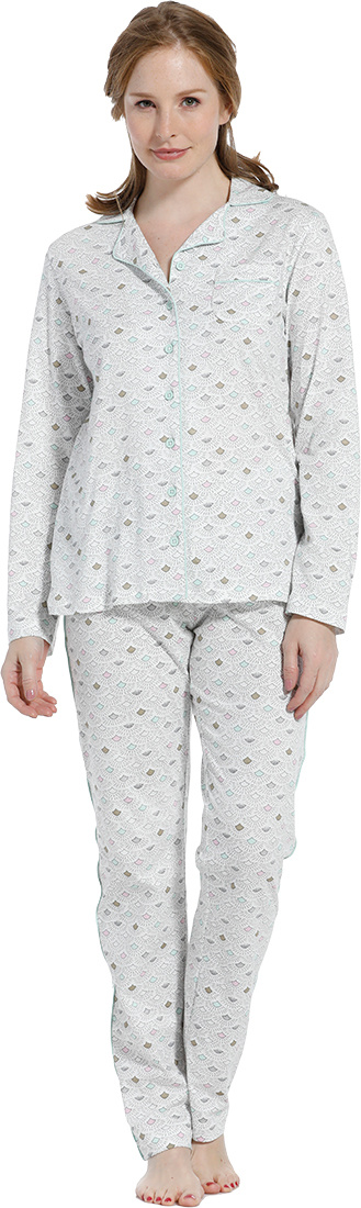 Pastunette 'abstract mini gatsby fan' wihte, grey & pink long sleeve full button pyjama with revere collar, green trimmings and long matching pants