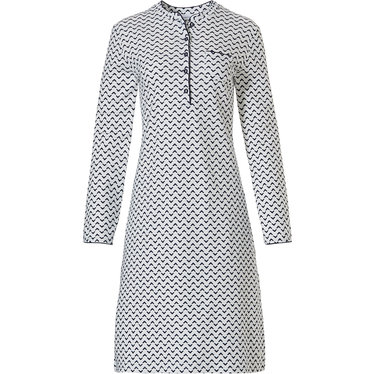 Pastunette 'broken zig-zags' off -white & dark blue  100% cotton interlock, ladies long sleeve nightdress with 5 buttons and chest pocket