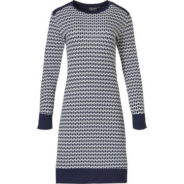 Pastunette Deluxe 'links of fashion' dark blue & white long sleeve nightdress with cuffs, shoulder detail and broad hem