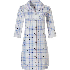 Rebelle full button cotton french terry nightshirt 'hearts & checkered stripes'