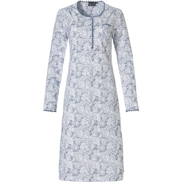 Pastunette Deluxe 'elegant feathers' off-white & blue long sleeve classic style nightdress with 5 buttons, chest pocket and delicate lace trimmimgs