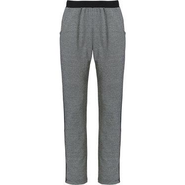 Pastunette Deluxe  'monochrome sporty fashion' black & white ladies trendy Mix & Match homewear pants with sporty side stripe, black rib-knit waist and pockets