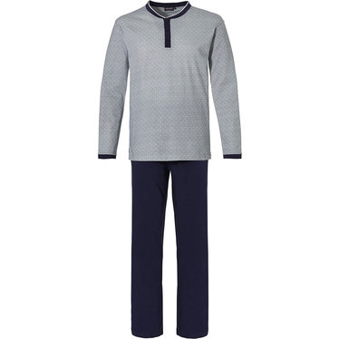 Pastunette for Men 'geometric triangle lines' light grey & dark blue mens modern 'geometric triangle' cotton single jersey pyjama with 3 buttons and long dark blue pants