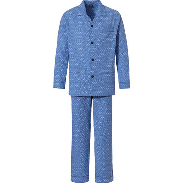 Robson 'true circles' sky blue long sleeve 100% woven cotton flannel, full button men's pyjama with revere collar, chest pocket, two front pockets and long matching 'true circles' patterned pants