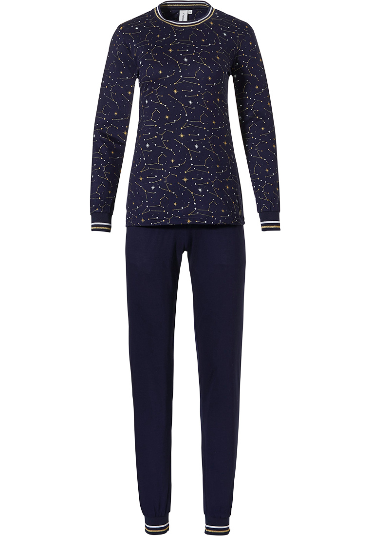 Rebelle  '★ starry ★ night ★' dark blue & gold long sleeve pyjama set with trendy '★ starry ★ night ★' pattern, white and glitter gold striped cuffs and long navy blue cuffed pants