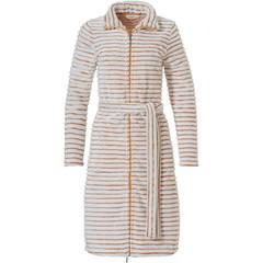 Pastunette gele dames badjas met rits 'soft lines' van zachte fleece
