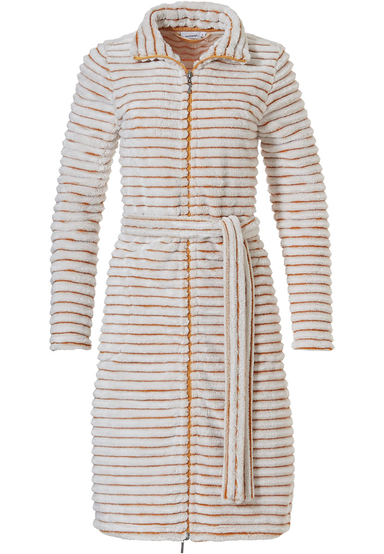Pastunette 'soft lines' mellow yellow, warm, soft fleece, wrap-over morninggown with shawlcollar, belt and two pockets