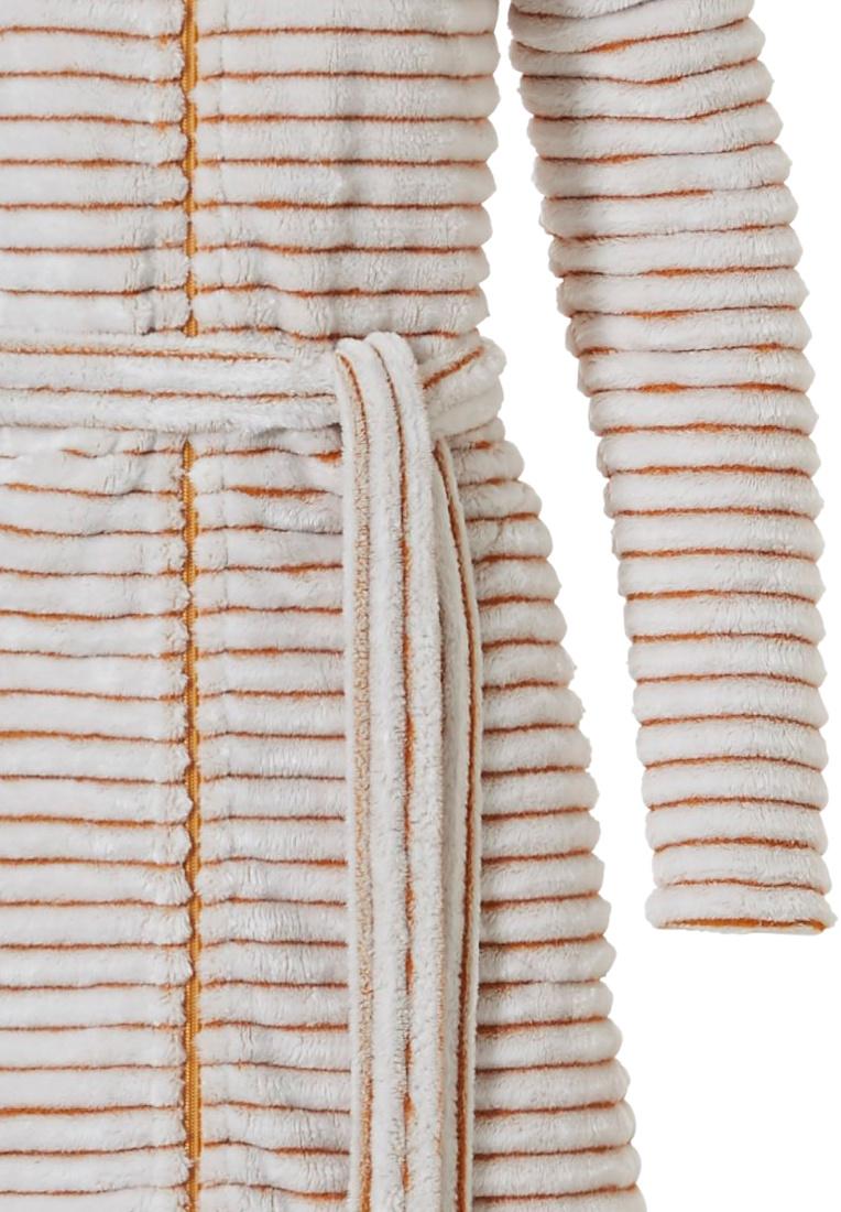 Pastunette 'soft lines' goudgele, warme, zachte, overslag, fleece ochtendjas met sjaalkraag, ceintuur en twee zakken