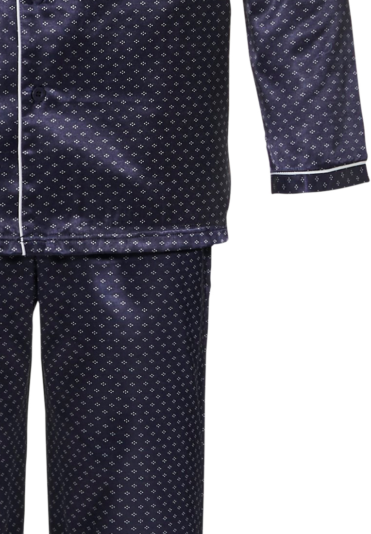 Pastunette for Men 'smart diamond dots' dark blue mens full button cuddlle satin pyjama  with revere collar, chest pocket , trimmed with off-white piping and matching dark blue patterned pants