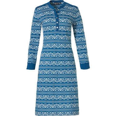 Pastunette Deluxe 'lined in elegance' true blue & pure white long sleeve cotton - modal  nightdress with 5 buttons
