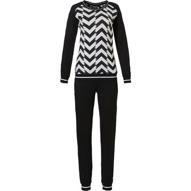 Pastunette Deluxe 'monochrome chic fashion' black & white ladies trendy viscose-elastane long sleeve homewear set with long black pants and rib-knit cuffs