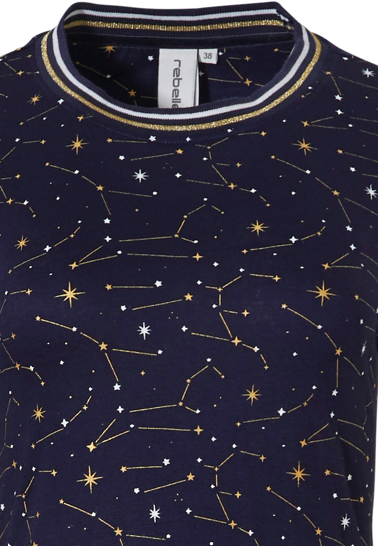 Rebelle  '★ starry ★ night ★' dark blue & gold long sleeve nightdrress with trendy '★ starry ★ night ★' pattern  and white and glitter gold striped cuffs