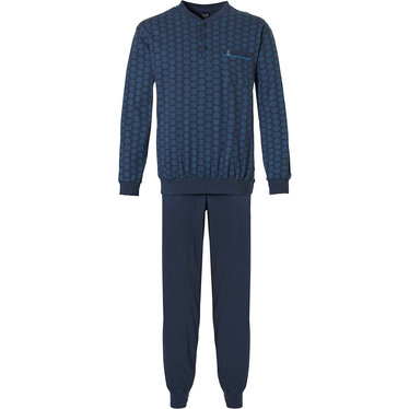 Robson 'hexagon print pattern' dark blue long sleeve 100% cotton mens pyjama set with 3 buttons, chest pocket and long dark blue cuffed pants
