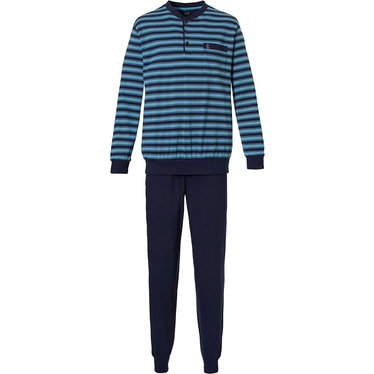 Robson 'fine stripe lines' dark blue & turquoise, mens long sleeve horizontal stripes, 100% cotton pyjama set with 3 buttons, chest pocket and long dark blue cuffed pants