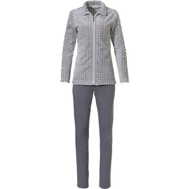 Pastunette 'criss cross weave' white & grey soft fleece homesuit with full zip jacket and long grey cotton -mix pants  - Be  cosy & warm this Winter fluffiness and