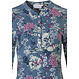 Pastunette  'japanese garden flowers' misty blue & pink long sleeve cotton floral nightdress with mandarin style collar and 5 buttons
