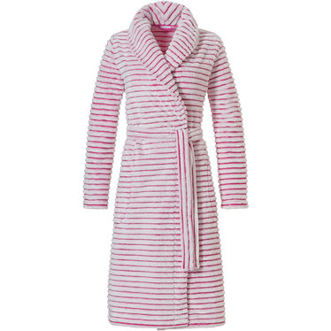 Pastunette 'soft lines' pretty pink, warm, soft fleece, wrap-over morninggown with shawlcollar, belt and two pockets