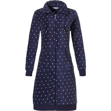 Pastunette 'a little bit dotty' ladies dark blue & pure white, warm coral fleece morning gown with collar, full zip  and two front pockets