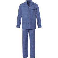 Robson woven full button cotton flannel mens pyjama top 'all squares'