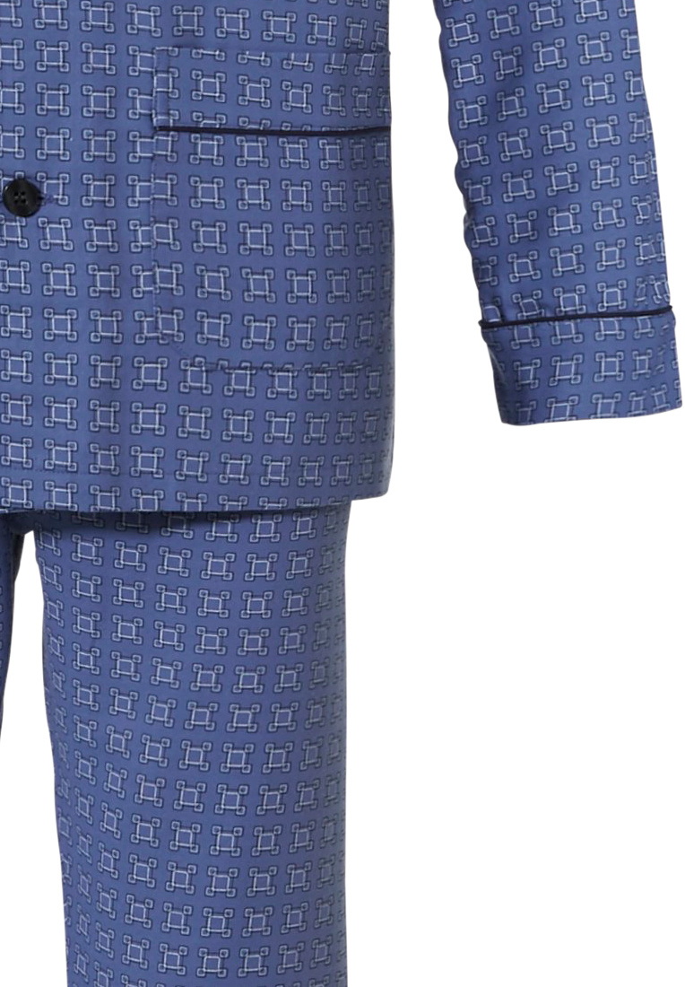Robson 'all squares' cadet blue long sleeve, 100% woven cotton flannel, full button men's pyjama with revere collar, chest pocket, two front pockets and long matching 'all squares' patterned pants