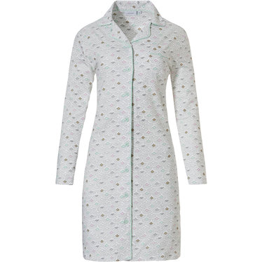 Pastunette 'abstract mini gatsby fan' wit, grijs & roze doorknoop nachthemd met lange mouwen, reverskraag en groene trimmings