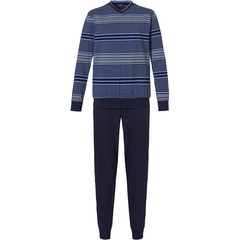Pastunette for Men mens cotton pyjama with cuffs 'block of stripes'