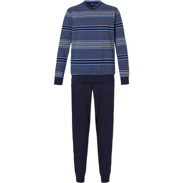 Pastunette for Men 'block of stripes' light & dark blue 100% single jersey cotton, stripey long sleeve pyjama with 'v' neck  and long dark blue cotton pants with cuffs