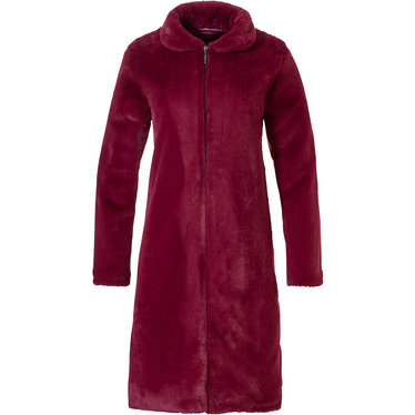 Pastunette Deluxe luxury fake fur maroon red  long house coat with full zip , collar ined with PES satin