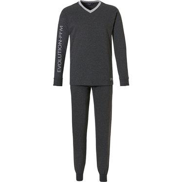 Pastunette for Men 'EVOLUTION - PFM' donkergrijze 'v'-hals, lounge style, trendy casual pyjama met lange mouwen en lange donkergrijze joggingbroek met boordjes