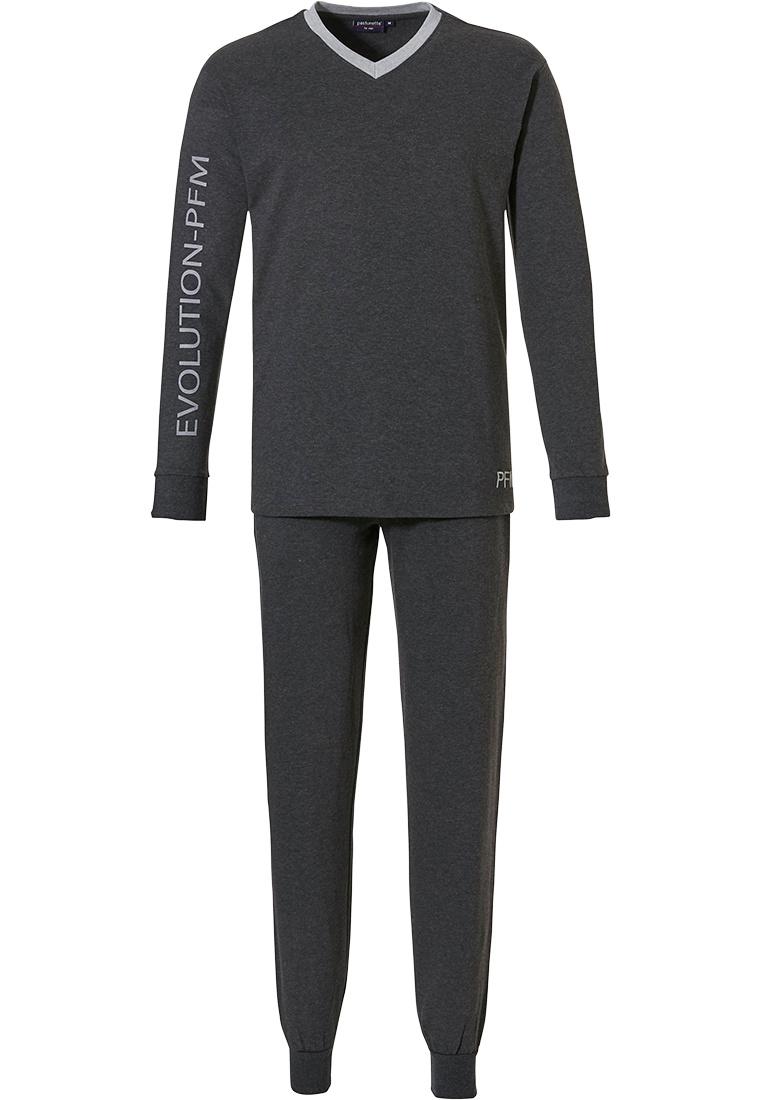 Pastunette for Men EVOLUTION - PFM' dark grey 'v'-neck, long sleeve lounge style, trendy casual pyjama with long dark grey jog pants with cuffs