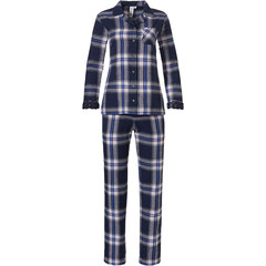 Rebelle long sleeve full button flannel pyjama 'denim blue checks & lace'